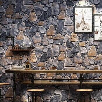 Vintage 3D Texture Stone Wallpaper PVC Waterproof Vinyl Washable Wall Paper Living Room Bedroom Resturant
