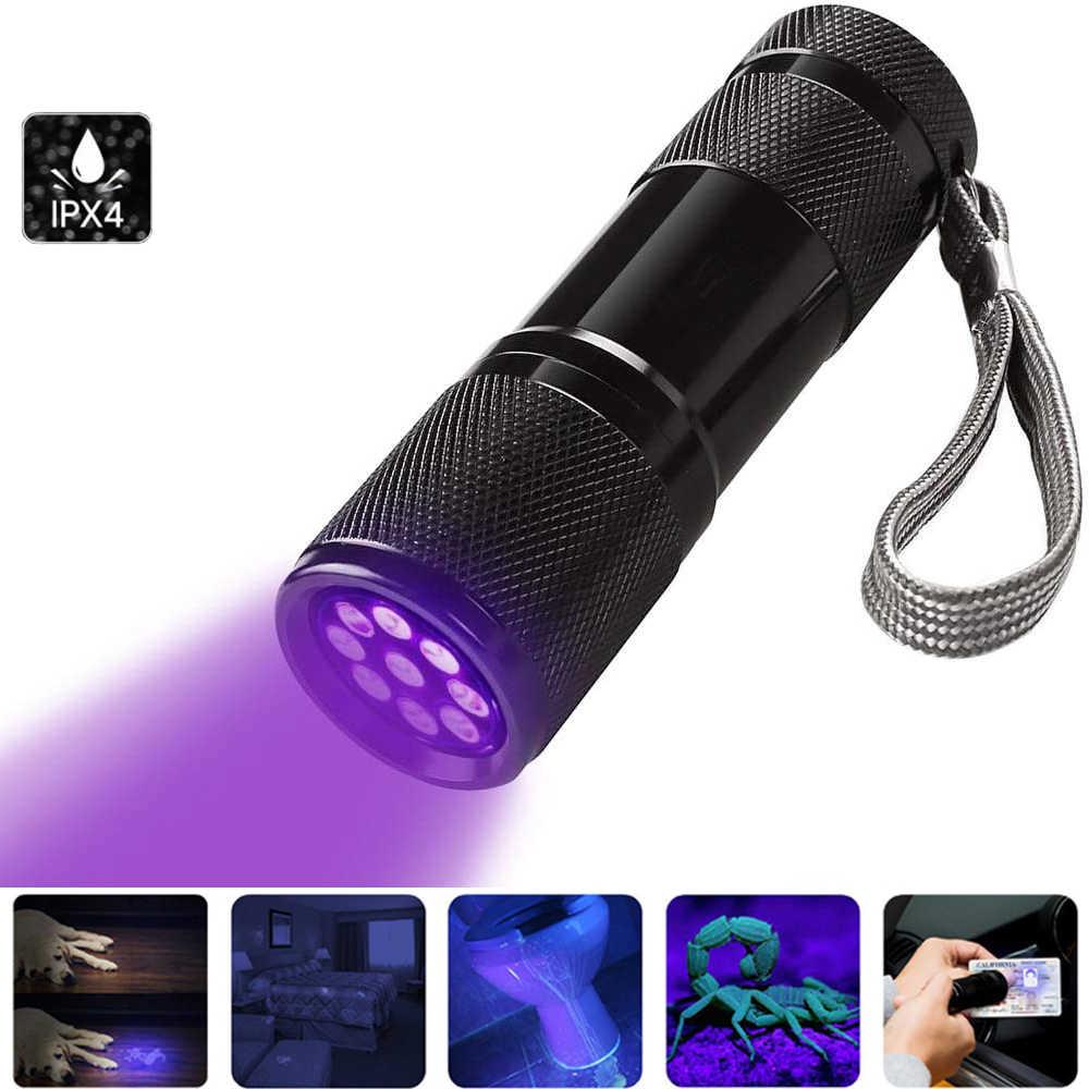 Tocha uv 9 led 395nm ultravioleta ultra violeta led lanterna ultra violeta invisível tinta marcador luz de detecção 3aaa lâmpada uv