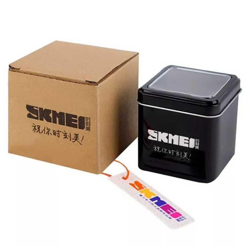 SKMEI oryginalny zegarek marki pudełko pudełko metalowe pudełko + karton z SKMEI LOGO darmowa wysyłka Dropshipping
