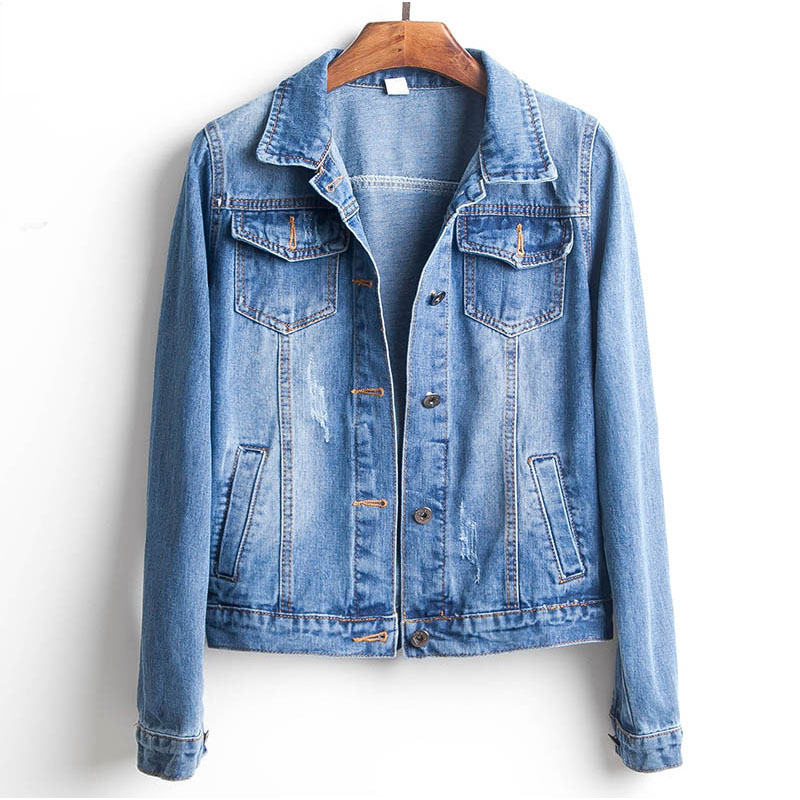 H428818306e5c4eab8271d59c6ec42f00s Plus Size Ripped Hole Cropped Jean Jacket 4Xl 5Xl Light Blue Bomber Short Denim Jackets Jaqueta Long Sleeve Casual Jeans Coat