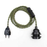 Ue plug cabo de alimentação com interruptor e lâmpada fenólica soquete abajur anéis para vintage pendurado kits de cabo de luz.