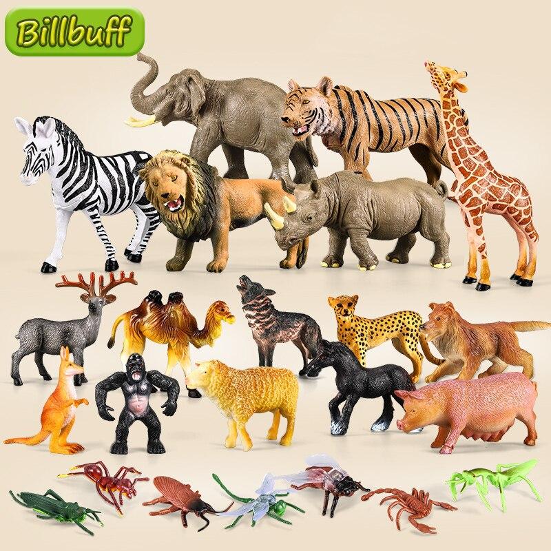 Моделирование диких животных, Лев, жираф, волк, насекомое, ПВХ Модель, миниатюрная ферма, фигурки, развивающая игрушка для детей, подарки для ...