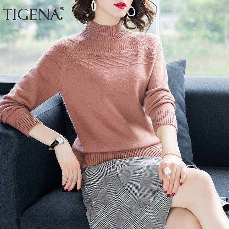 TIGENA New Turtleneck Sweater Women Jumper 2019 Winter Thick Warm Long Sleeve Knitted Pullover Sweater Female Pink Yellow Blue