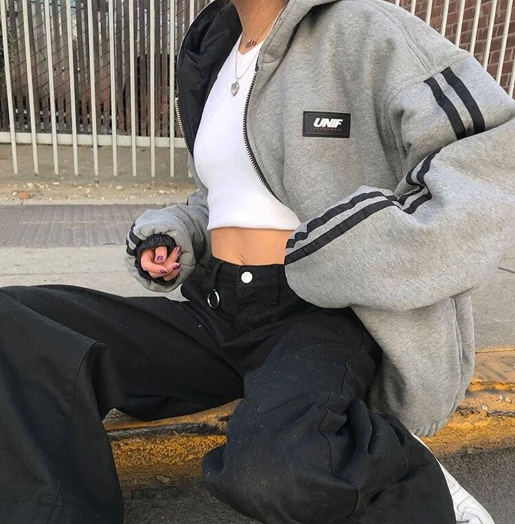 2019 Autumn Unif Retro Sporty Reversible Arm Side Edge Reflective Strips Hooded Cotton Coat Jacket