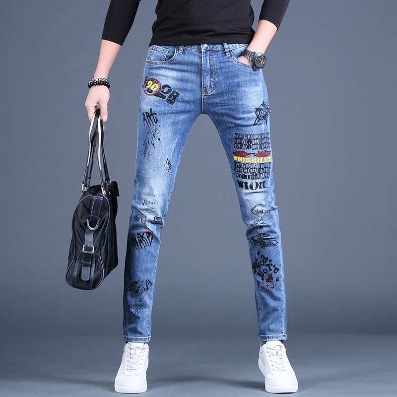 Free Shipping New Male Casual Autumn Men's 2020 Spring Printed Jeans Tide Brand Slim Straight Pants Korean Trousers