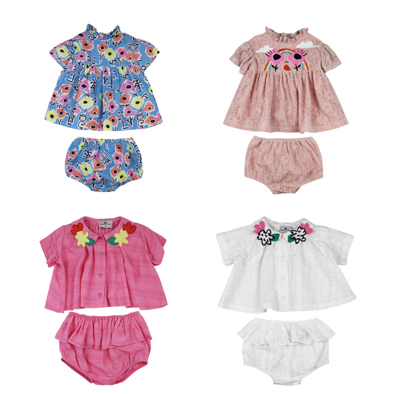 Raspberry Baby Girl Summer Clothes Sets Vintage Toddler Flower Pattern Outfits Little Girl Loose Short Sleeve Suits Bloomers