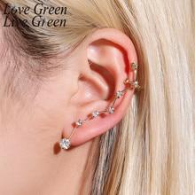 цена на Fashion Korean Shine Style Big Rhinestone Gold Alloy Dipper Single Star Ear Hook Stud Earrings Women Jewelry New 2020