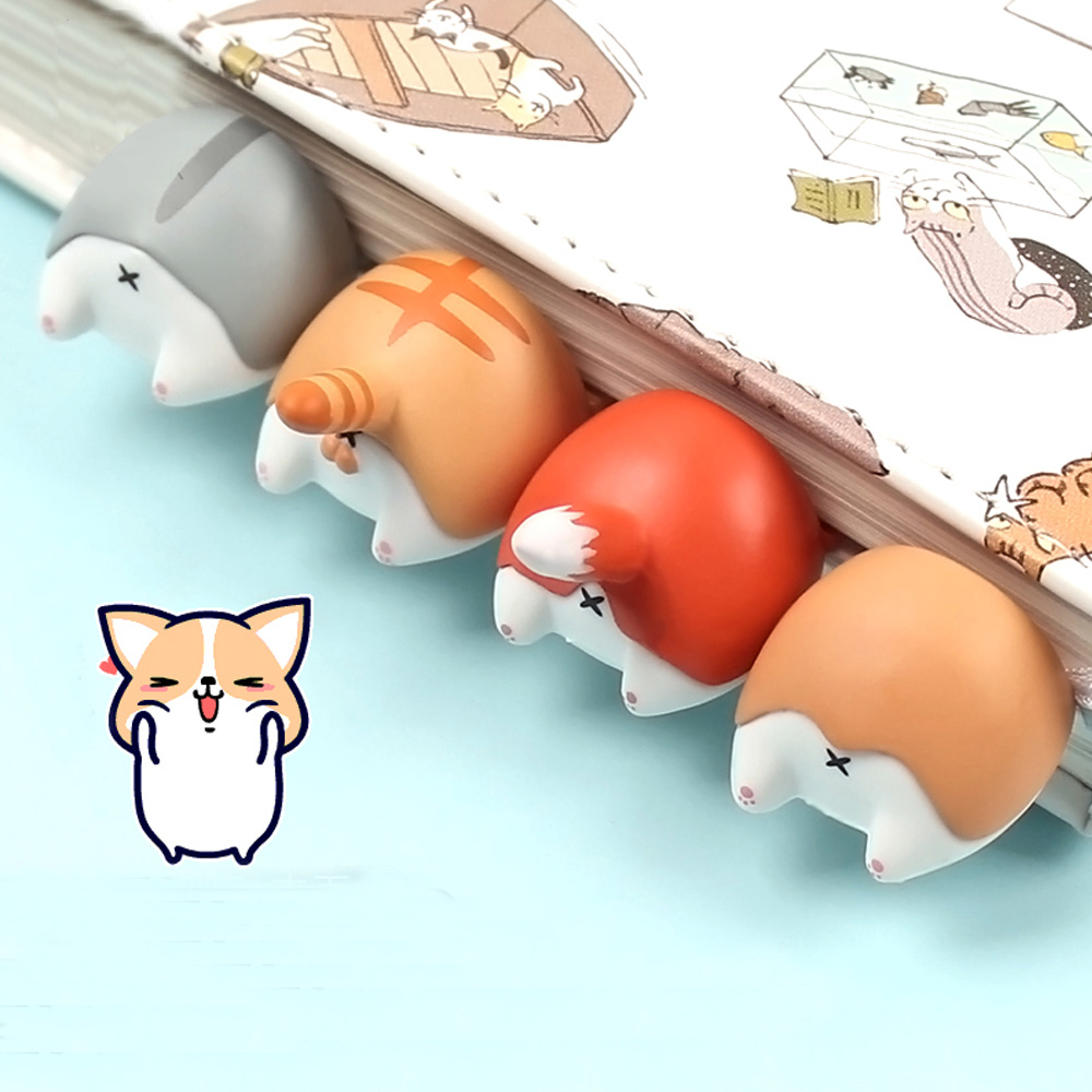 Cute Cartoon Dog Cat Hamster Fox Ass Bookmarks Novelty Book Reading Item Creative Gift For Kids Children Stationery Lonely