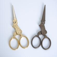 ZOYOONE 1Pcs Vintage Rat-Shaped 12 Zodiac Shaped Titanium-Plated Durable Retro Embroidered Scissors Mini Tailor Tools E