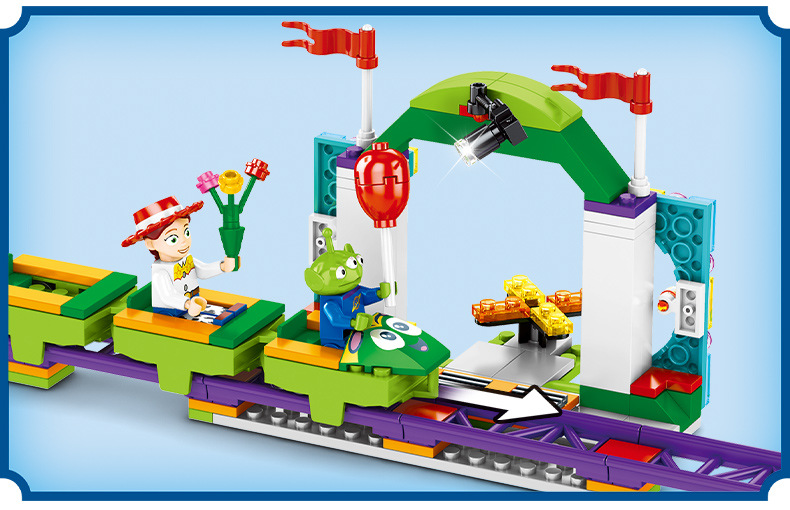 Image 4 - Toys Story 4 Movie Carnival roller coaster 324PCS train building block children toys gift 6697 contain Anime figures IN STOCKBlocks   -
