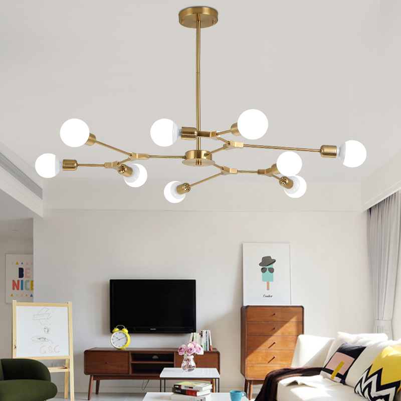 Sputnik Modern Chandelier Magic Bean Molecular Light Fixture Tree Shape Ceiling Lamp Nordic Postmodern Lamp Kitchen Island Gold
