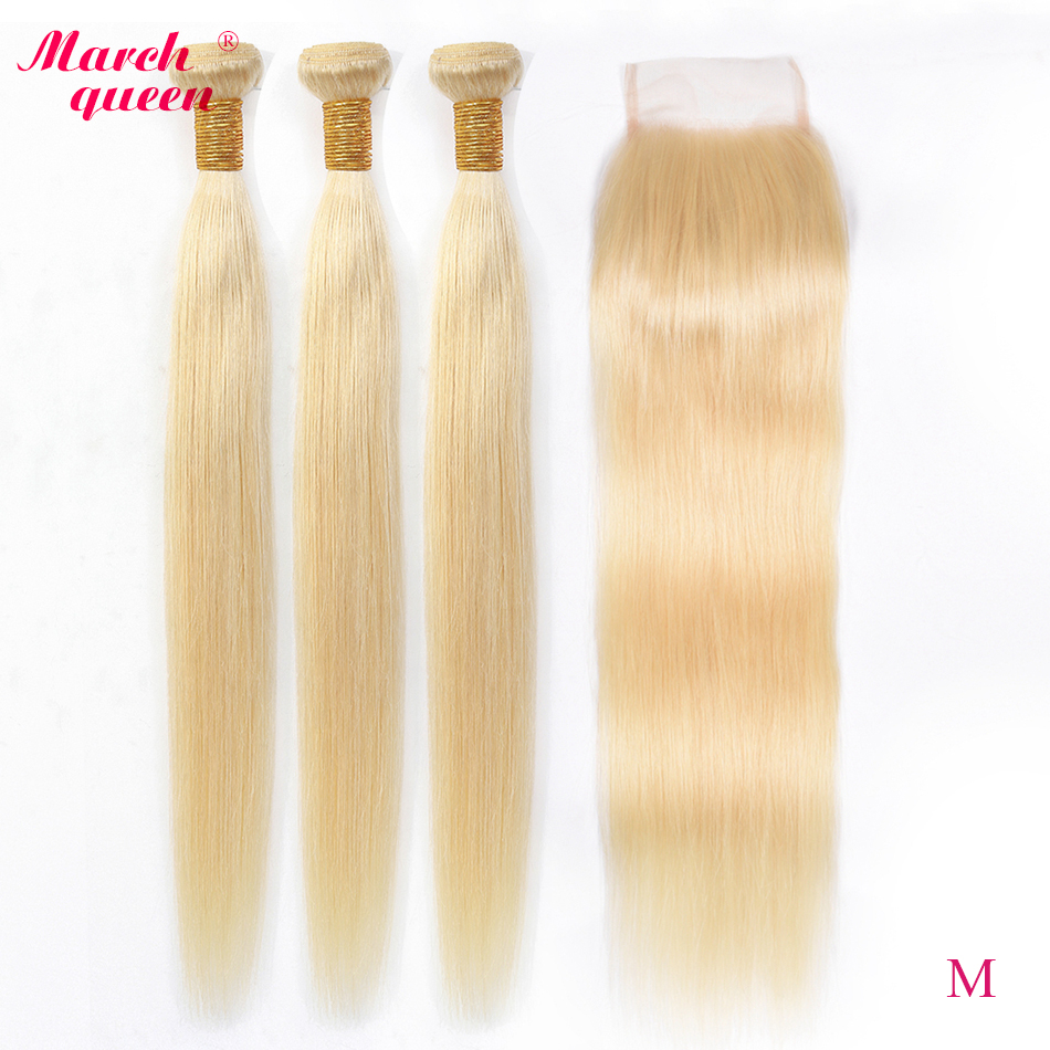 Marchqueen Malaysian Straight Hair With Closure Medium Ratio 613 Honey Blonde Bundles With Closure Remy Human Hair Weft image