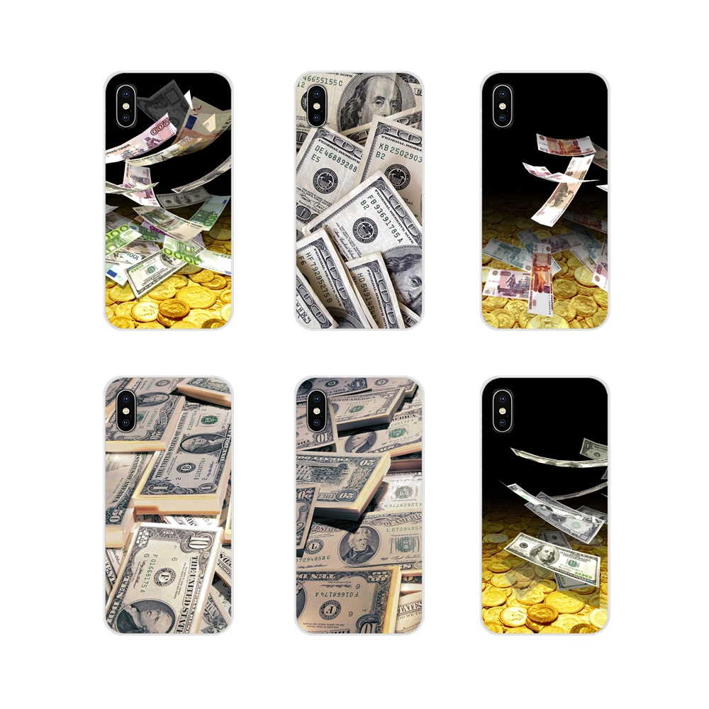 Transparent TPU Skin Case For Samsung Galaxy S3 S4 S5 Mini S6 S7 Edge S8 S9 S10 Lite Plus Note 4 <font><b>5</b></font> 8 9 Money <font><b>Dollar</b></font> Rouble Pound image