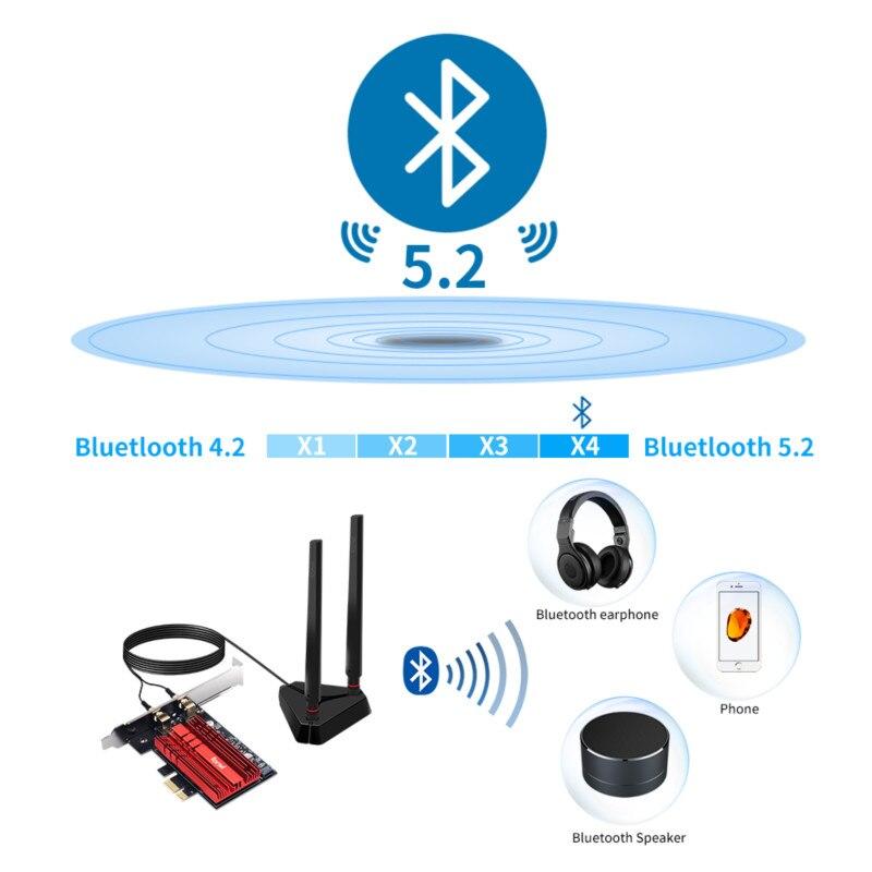 Wi-Fi 6E Intel AX210 Dual Band PCIe Wireless Wifi Network Adapter 2.4G/5G/6Ghz 2400M Wi-Fi Card Bluetooth 5.2 PCI Express Wlan 4