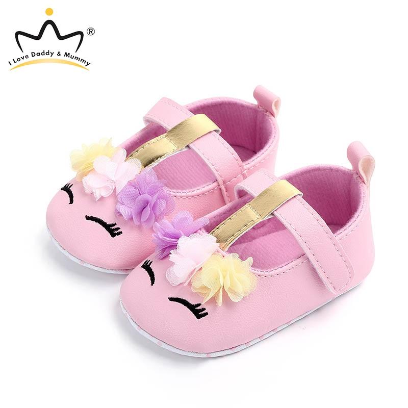 Cute Flower Unicorn Baby Girl Shoes Soft Cotton Bottom Non Slip Newborn Toddler Shoes Princess Girls First Walker Shoes
