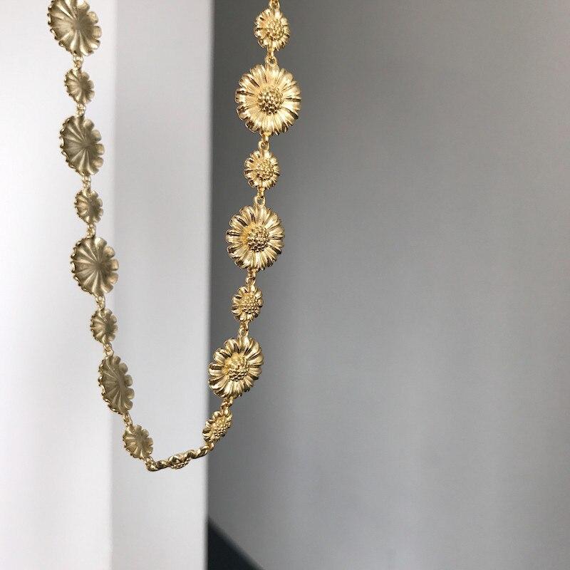 Silvology 925 collier en argent Sterling Daisy fleur collier ras du cou de haute qualité 18K or élégant femmes collier amitié bijoux cadeau