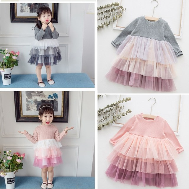 Baby dress Princess Girl wear Long sleeve Knit Dress for 0-6 year birthday party Toddler Costume autumn  for Infant vestidos 4