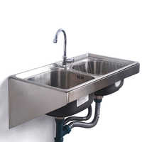 Кухонная раковина из нержавеющей стали настенные раковины с фиксированным кронштейном один/двойной чаша бак для мытья овощей бассейна ...