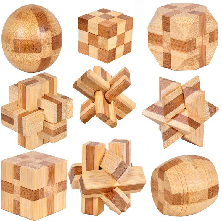 Wooden Puzzle Toy IQ Brain Teaser Game Kong Ming Lock Kid Adult Intelligence Toy