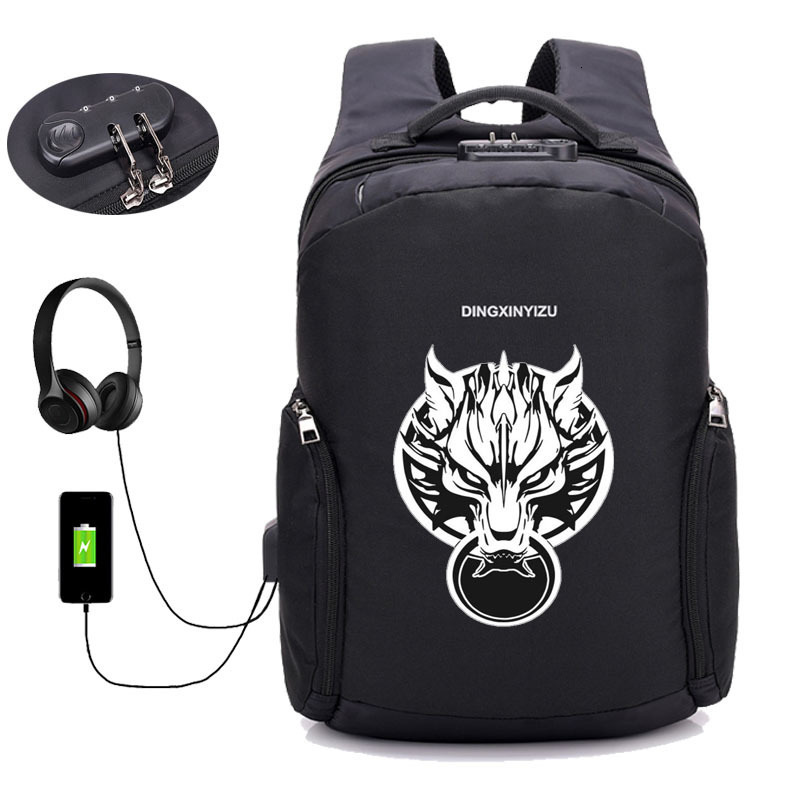 Game Final Fantasy Backpack USB Charge Anti Theft Notebook Backpack Student Book School Bags Teenage Male Laptop Travel Package
