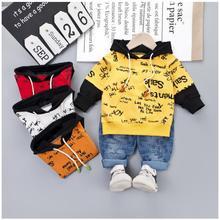 2019 Autumn New Kids Infant  Clothing Suit Toddler Boys Clothes Set Cotton Hooded Letter Coat Pants Children Costume
