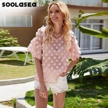 Soolasea Женская трехмерная блузка с цветочным узором элегантная