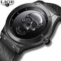 Relogio Masculino LIGE Herren Uhren Neue Schädel Uhr männer Militär Sport Armbanduhr Männer Wasserdichte Silikon Quarz Uhr 2019