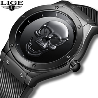 Relogio Masculino LIGE Mens Watches New Skull Watch Men's Military Sports Wrist Watch Men Waterproof Silicone Quartz Clock 2019