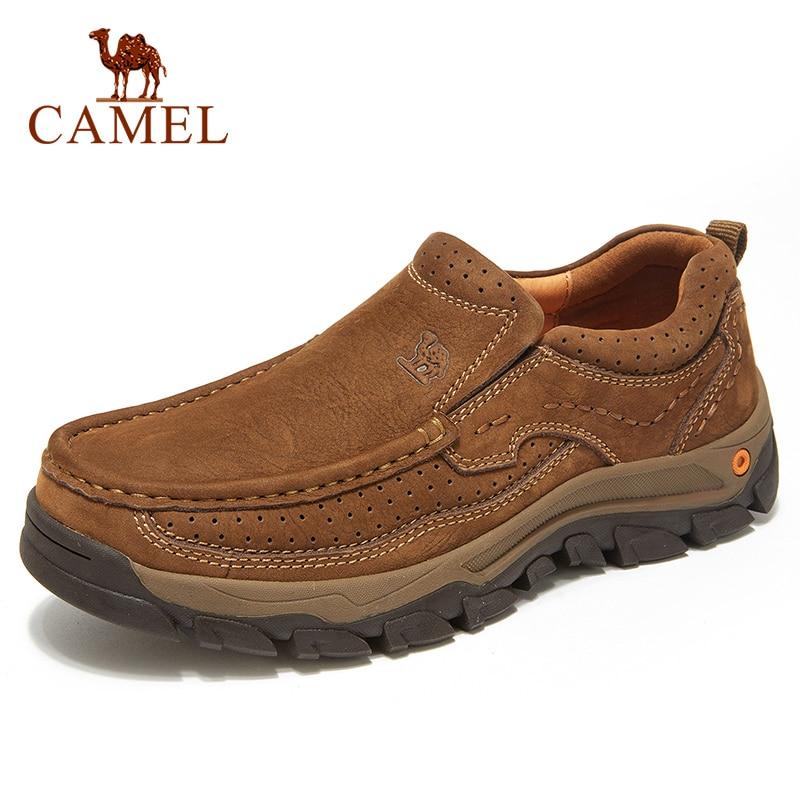 CAMEL สบายๆสบายๆรองเท้าหนังผู้ชายรองเท้าผู้ชายสวมใส่ Tooling รองเท้าแฟชั่นรองเท้าแตะ Homens-ใน รองเท้าลำลองของผู้ชาย จาก รองเท้า บน   1