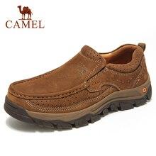 Camel sapatos casuais confortáveis, sapatos de couro genuíno matte e confortáveis, resistente ao desgaste, moda masculina