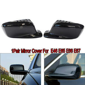 Par de cubiertas para espejo retrovisor lateral para BMW E46 3 Series E65 E66 E67 7 Series 745I 750I negro brillante