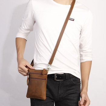 Crazy Horse Leather Fanny Pack Men Genuine Leather Waist Packs Male Waist Bags Belt Bag Phone Bags Men's Travel Small Waist Bag brand hand made genuine crazy horse leather small cross body shoulder bag men s messenger bags male waist belt pack for travel