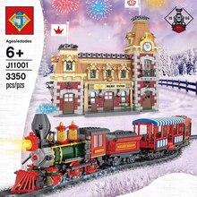 J11001 Disneys поезд и станция строительные блоки кирпичи совместимы с lepingl 71044 обучающая игрушка для детей подарок на день рождения