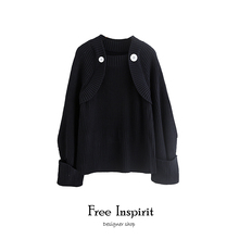 Free Inspirit Fashion Vintage Style O-neck Computer Knitted Ladys Pullovers Button Decorate Black Womans Sweater