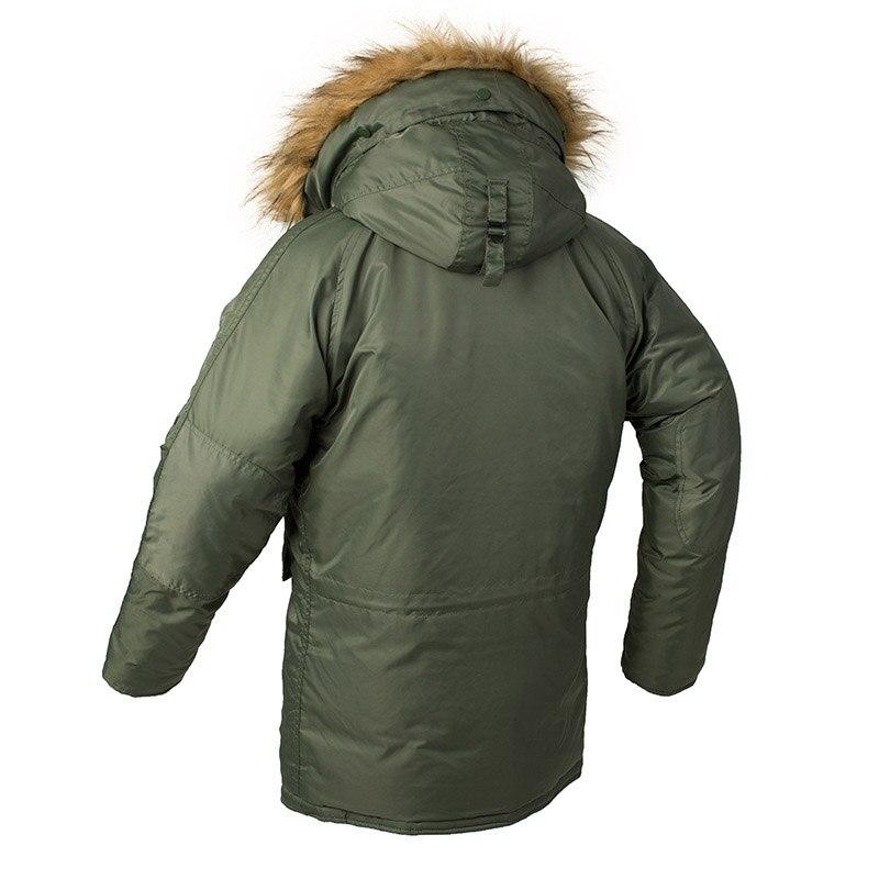 KIOVNO Männer Winter Warme Bomber Jacken Mit Pelz Kragen Military Thermische Kapuze Lange Jacken Outwear Für Männlichen Parkas Multi Taschen - 3