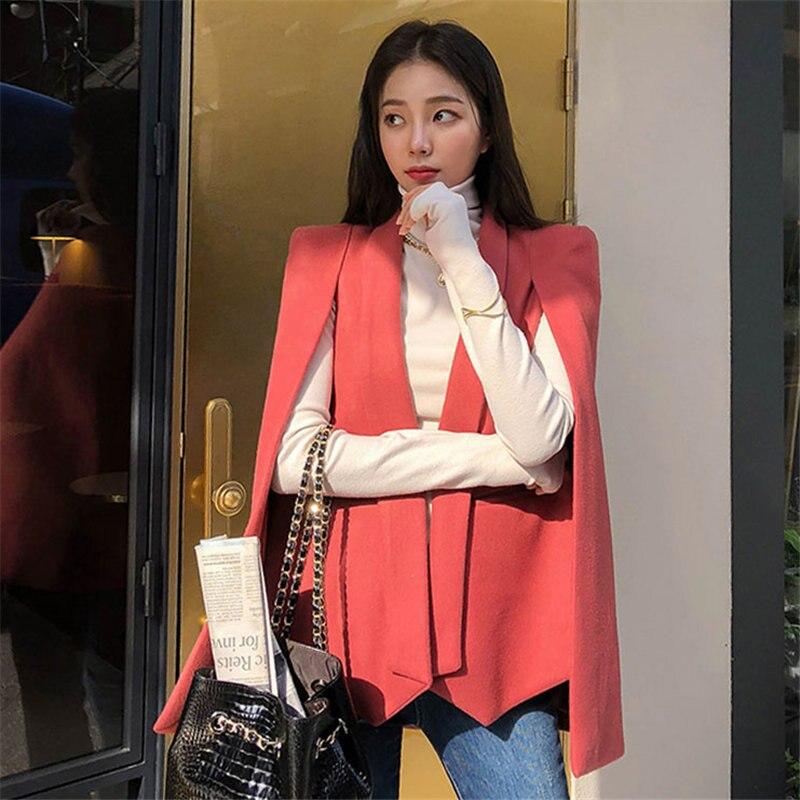 HziriP Cape Shawl Windbreaker 2020 New Women Trench Fashion Female Plus Size Chic Thick Elegant Woolen Streetwear Warm Overcoat
