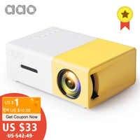 AAO YG300 Mini Proyector de Audio YG-300 HDMI Mini Proyector USB soporte 1080P casa reproductor de medios chico jugar YG310 regalo Proyector