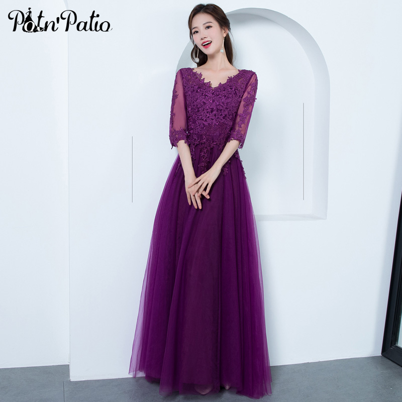Plus Size Deep Purple   Prom     Dresses   2019 A-line Floor-length Luxury Appliques Tulle Long   Prom     Dresses   With Sleeves