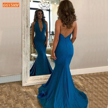 Trendy Halter Deep V Neck Evening Dresses Long Elastic Satin Sweep Tra