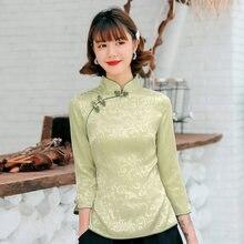 Элегантная атласная китайская женская рубашка с воротником стойкой