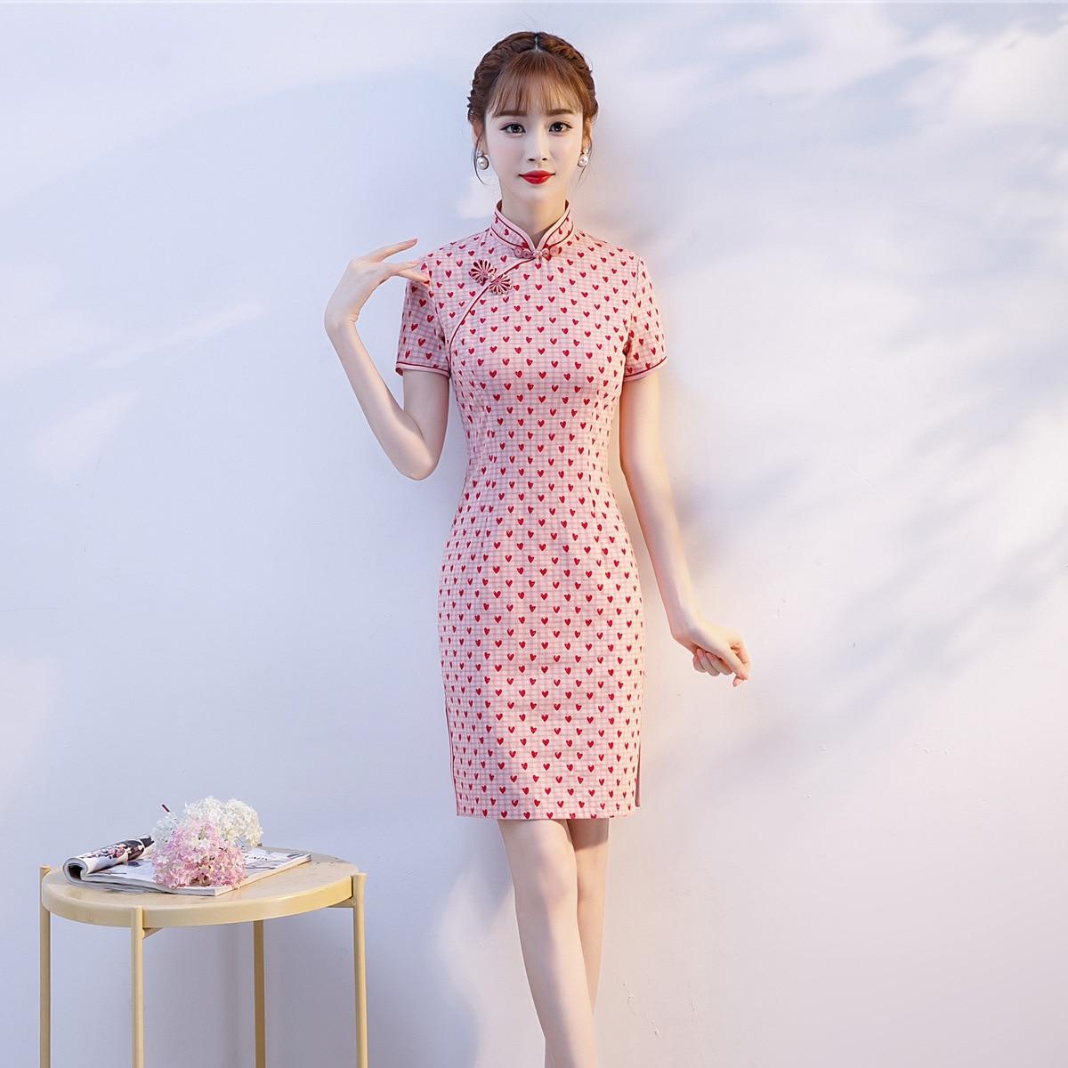 Open Rain 2019 New Style Cotton Linen Short Cheongsam Pink And Blue Heart Years Situation GIRL'S Cheongsam Dress Short Elegant