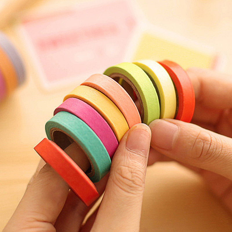 10pcs/set  Solid Color Adhesive Tape Simple Cute Washi Tape Decor Masking Tapes For Kids Scrapbooking DIY Supplies Stationery