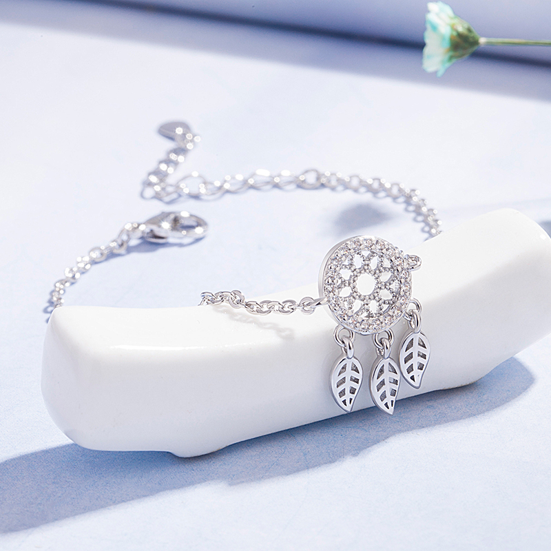 DAIWUJAN 925 Sterling Silver Zircon Dreamcatcher Feather Pretty Bracelet Fine Jewelry For Women Girls Party Accessories Gift