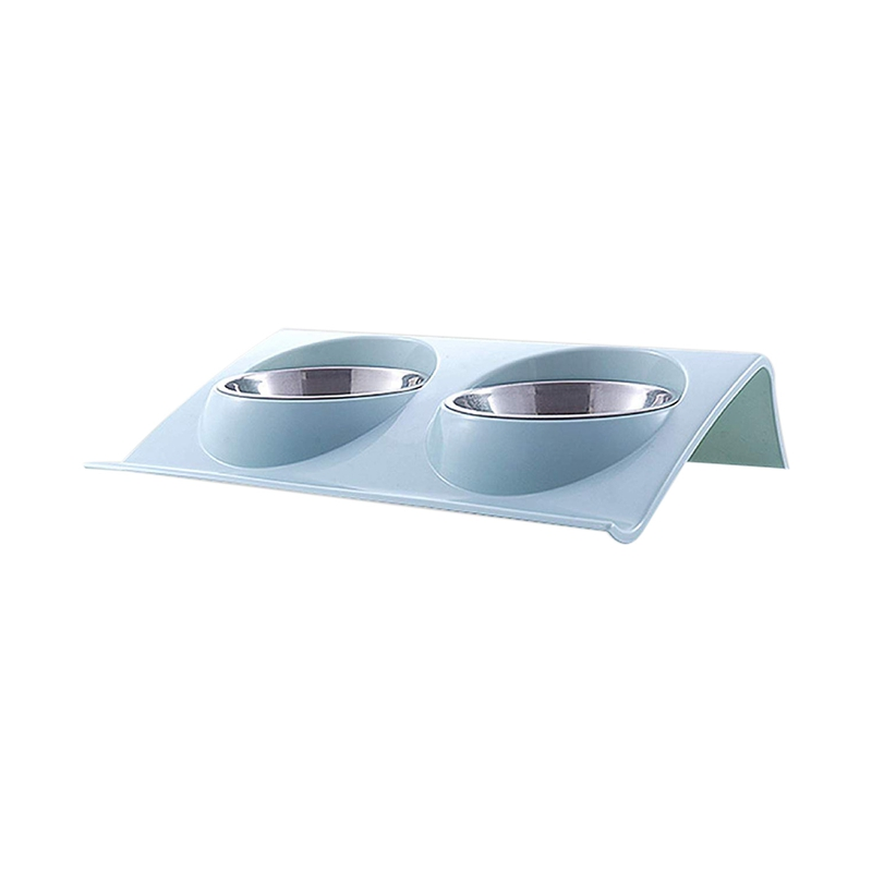 Stainless Steel Double Pet Bowls Food Water Feeder For Dog Puppy Cats Pets Supplies Feeding Dishes Blue image