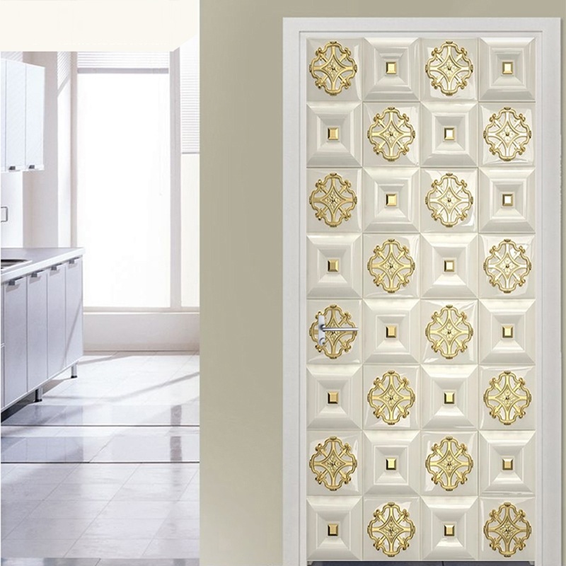Self-Adhesive Waterproof Door Sticker 3D Stereo Golden Lattice Pattern Mural Wallpaper European Style Living Room Luxury Poster
