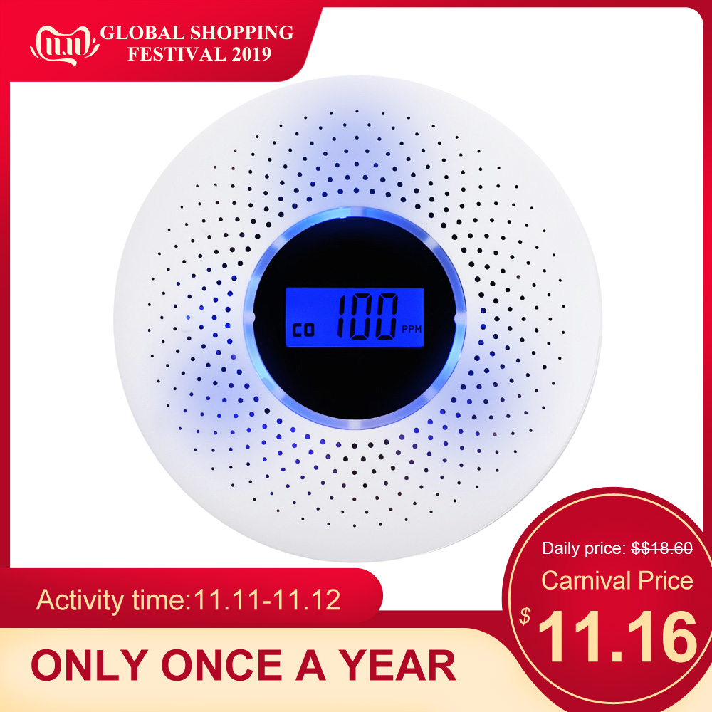 2 in 1 LCD Display Carbon Monoxide detector Smoke Combo Detector  CO Alarm with LED Light Flashing Sound Warning for home safety-in Carbon Monoxide Detectors from Security & Protection