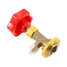 Refrigerant Opener R134A Bottle Red + Gold Heavy Brass Fittings Valve Control New Arrivals
