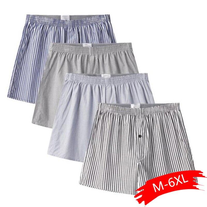 4pcs/ Lot Classic Striped Men's Boxers Cotton Mens Underwear Trunks Woven Homme Panties Loose Boxer Plus Size Random Color