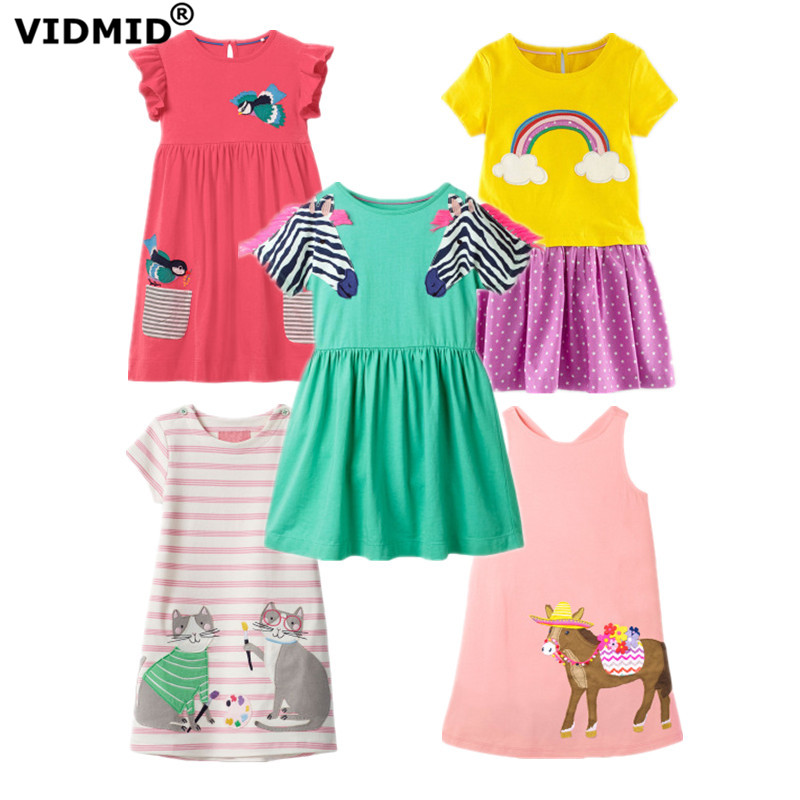 VIDMID Baby Girls Short Sleeve Dresses Girls Cotton Clothes Casual Dresses Kids Cats Rainbow Striped Dresses Children's Clothing