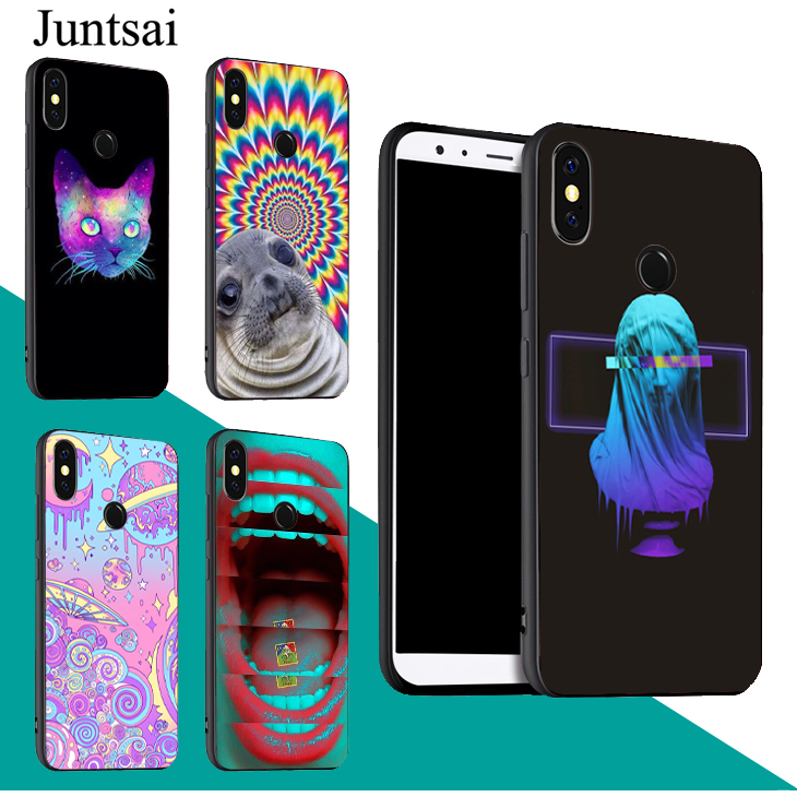 Neon Psychedelic Trippy Art Case For <font><b>Xiaomi</b></font> Redmi Note 9 7 8 <font><b>Pro</b></font> K30 9S 8T 7A 8A <font><b>Mi</b></font> 9T A3 9 SE 10 Lite <font><b>Max3</b></font> Mix3 image